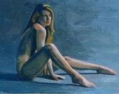 Art Card Original Painting Female Nude Figure 3.5 x 2.5 - Abandoned