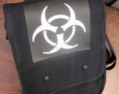 iPad Net Book Messenger Field Bag - Grunge Biohazard Design