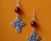 Ruby Red  Cross Earrings