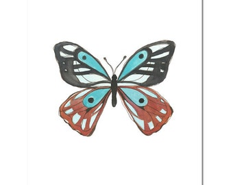 "Butterfly in Cyan and Terracotta--8""X10"" Fine Art Print"