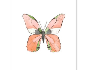 "Butterfly in Peach--8""X10"" Fine Art Print"