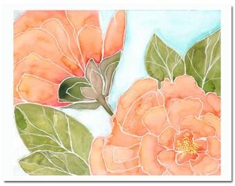 "Camellia in Tangerine 2--8""X10"" Fine Art Print"