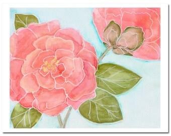 "Camellia in Coral 1--8""X10"" Fine Art Print"
