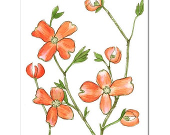 "Dogwood in Tangerine--8""X10"" Fine Art Print"