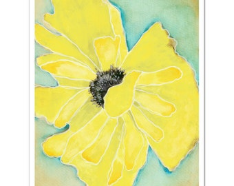 "Wild Poppy 1 in Yellow--8""X10"" Fine Art Print"
