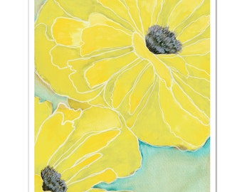"Wild Poppy 2 in Yellow--8""X10"" Fine Art Print"