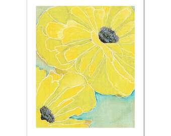 """Wild Poppy 2 in Yellow--11""""X14"""" Fine Art Print"""