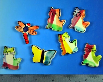 Set of 5 Cat Mosaic Tiles w/ Butterfly and Dragonfly