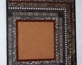 Mosaic Bulletin Board-Stained Glass Mixed Media-Brown and Gray