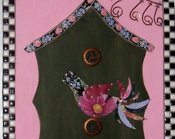 Bird and Birdhouse Mosaic and Mixed Media Plaque