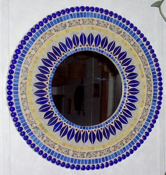Mixed Media Stained Glass Mosaic Art Mirror Blue and Yellow