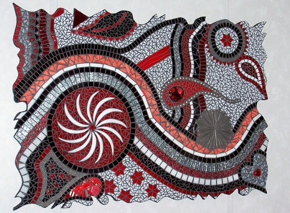 Mosaic Mixed Media Stained Glass Freeform Wall Art Red and Black