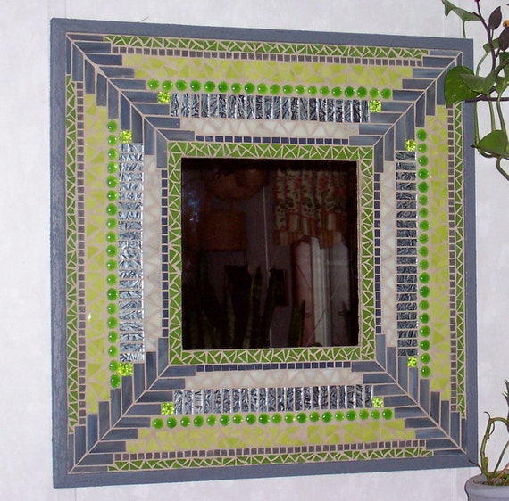 Mosaic Mirror Mixed Media Stained Glass Art-Lime and Gray