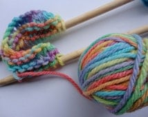 knitting kit complete with bamboo needles and rainbow hand painted wool