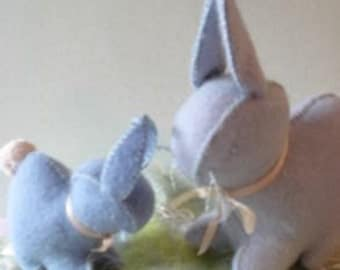 Create your own EASTER RABBIT DUO with Hand dyed wool felt