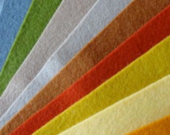 10 pieces of pure wool felt in earthy colours
