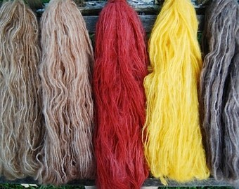 hand dyed mohair red, golden, brown perfect dolls hair