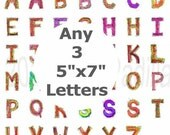 """Any Three Individual 5""""x7"""" Whimsical Letter prints"""