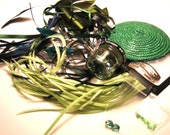 FASCINATOR KIT 'emerald isle' green lime feathers