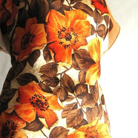 Ria vintage scarf top - lush orange poppies - size S-M