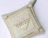 Shabby Chic Heart Collection by Liberty Street Designs completed Cross Stitch Ornament Scissor Fob