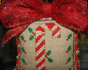 Completed Cross Stitch Ornament Candy Cane Christmas Needlework Fiber Art
