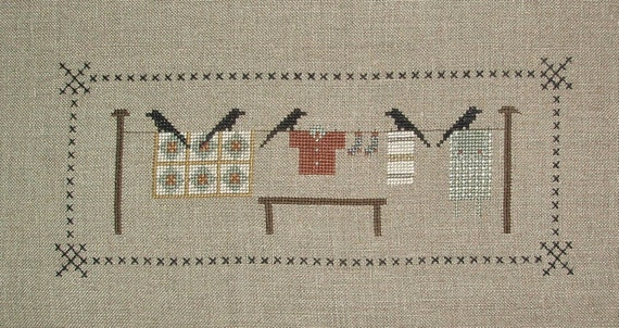 Reserved for Sherril Completed Cross Stitch Crows Line by Cedar Hill