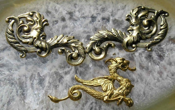 Green Man and a gothic companion..in goldplate