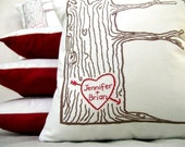 cover WITH insert -- custom heart -- tree print pillow -- personalized with your names or initials