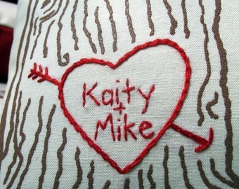 custom heart names tree print pillow cover - personalized sweetheart tree, cotton 2nd anniversary gift, gift for couples, tree heart pillow