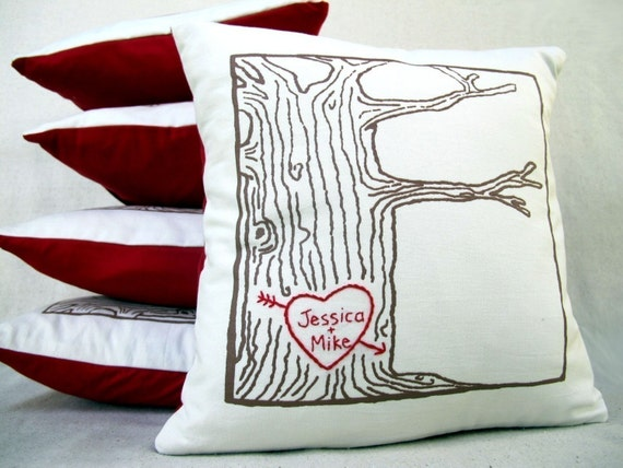 custom heart tree print pillow cover personalized with