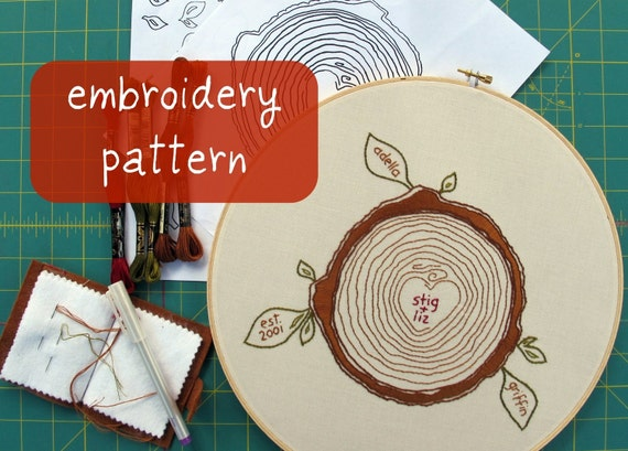 custom family tree embroidery pattern