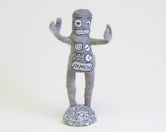 Spun Cotton Vintage Inspired Robot Figure