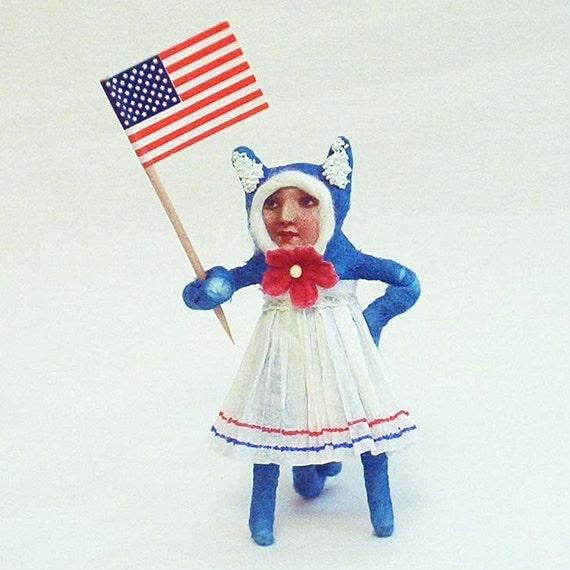 Spun Cotton Vintage Style Patriotic Cat Girl Figure