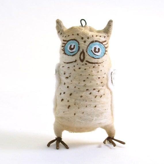 Spun Cotton Vintage Style Horned Owl Ornament/Figure OOAK