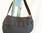 Pleated Ella Purse in Slate & Red Peacock Lining