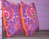 Pair of Purple Vintage Psychedelic Cushion Pillow Covers  16 inch