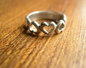 Vintage Sterling Row of Hearts Ring