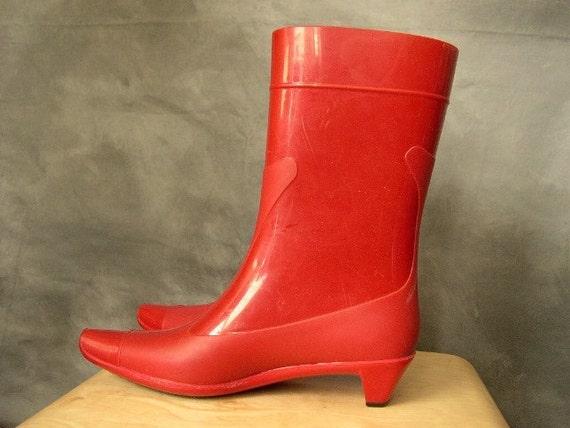 Vintage Miu Miu Red Rubber Rainboots by pupule on Etsy