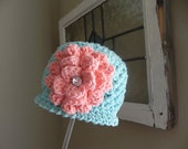 Crochet Beanie...Hat..Lil Bling Flower