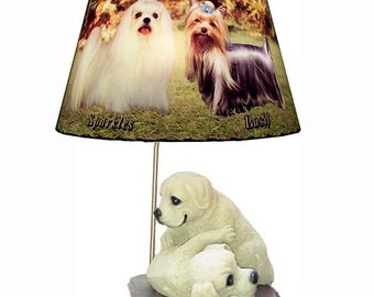 Ceramic Dog Statue lamp and Lamp Shade Perfect Gift Idea for Dog and Pet Lovers of ANY BREED