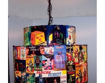 Double Decker Vintage Tin Robot Box Retro SWAG HANGING LAMP Ceiling Light