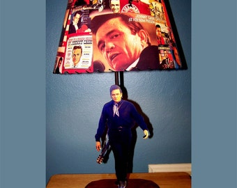 Johnny Cash Custom LAMP and record albums LAMP SHADE