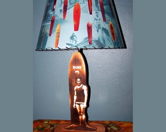 Duke Kahanamoku Surfing Lamp and Surfboard lampshade with vintage 60s surfing pictures