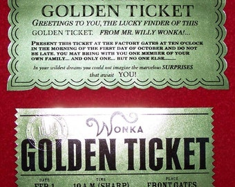 Golden Ticket from Willy Wonka and Charlie and the Chocolate Factory 2 Tickets expertly reproduced