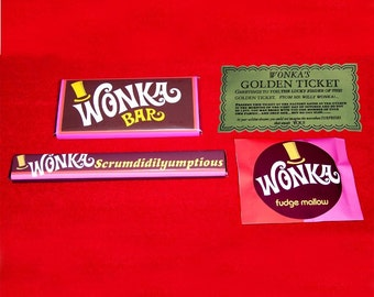 Willy Wonka 1971  GOLDEN TICKET and 3 WONKA CanDY BarS reproduction set