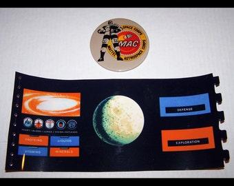 1968 Major Matt Mason Space Station Console Insert repro and Mattel Astrospace Corps pinback button