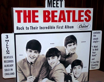 Meet The Beatles 1964 working motorized animated RECORD STORE counter advertising  DISPLAY REPROduction FulL SiZe improved version