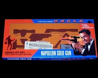1965 Ideal Man From UNCLE NAPOLEoN SoLO GUN BOX REPROduction toy box