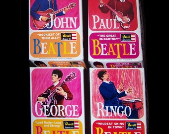 1964 Beatles REVELL MODEL KIT boxes Full Set of 4 REPROduction boxes plus INSTRUCTions